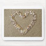 Corazón dispuesto de Seashells Tapetes De Ratones