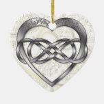 Corazón doble 1 de la plata del infinito - ornamen adorno