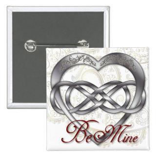 Corazón doble 1 de la plata del infinito - Sq. Bot Pin Cuadrada 5 Cm