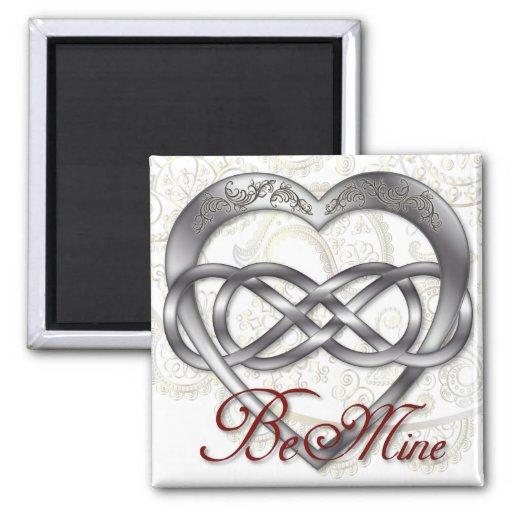 Corazón doble 1 de la plata del infinito - Sq. Imán Cuadrado
