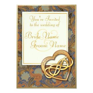 Corazón doble 1 del oro del infinito - el boda invitación 12,7 x 17,8 cm