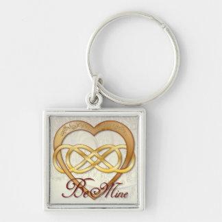 Corazón doble 1 del oro del infinito - llavero