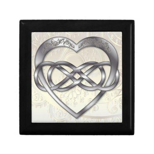 Corazón doble 2 de la plata del infinito - caja de cajas de joyas