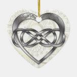 Corazón doble 2 de la plata del infinito - ornamen adorno de reyes