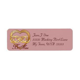 Corazón doble 2 del oro del infinito - etiqueta de etiqueta de remite