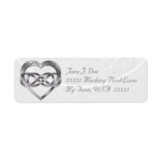 Corazón doble 3 de la plata del infinito - etiqueta de remite