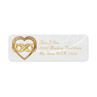Corazón doble 3 del oro del infinito - etiqueta de etiqueta de remite