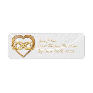 Corazón doble 3 del oro del infinito - etiqueta de etiqueta de remitente