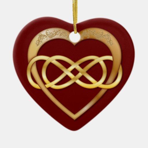 Corazón doble 3 del oro del infinito - ornamento adorno navideño de cerámica en forma de corazón