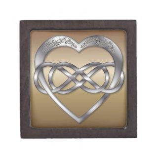 Corazón doble 4 de la plata del infinito - caja de cajas de regalo de calidad