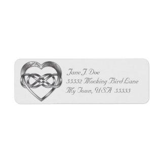 Corazón doble 4 de la plata del infinito - etiquetas de remite