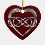 Corazón doble 4 de la plata del infinito - ornamen ornato