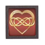 Corazón doble 4 del oro del infinito - caja de reg cajas de recuerdo de calidad