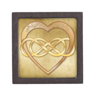 Corazón doble 5 del oro del infinito - caja de reg caja de recuerdo de calidad