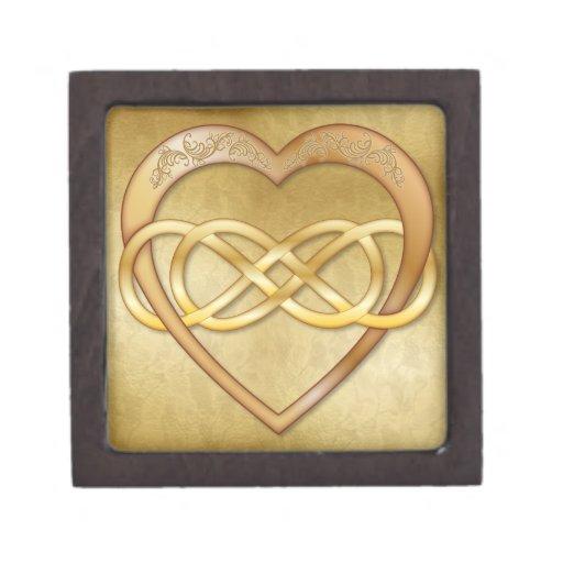 Corazón doble 5 del oro del infinito - caja de reg cajas de recuerdo de calidad