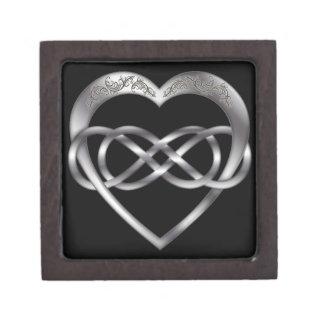 Corazón doble 6 de la plata del infinito - caja de cajas de recuerdo de calidad