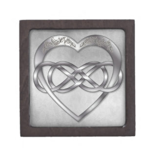 Corazón doble 7 de la plata del infinito - caja de cajas de regalo de calidad
