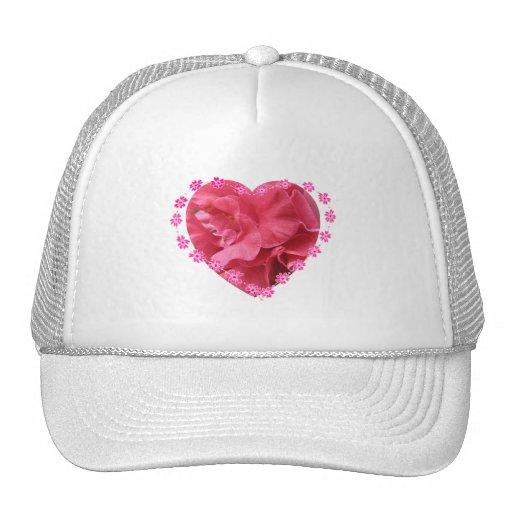 Corazón doble de la camelia gorras de camionero