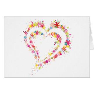 Corazón doble de la flor tarjeta