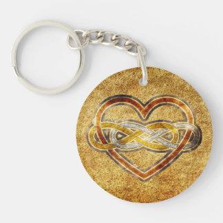Corazón doble del infinito del símbolo bicolor llavero redondo acrílico a doble cara