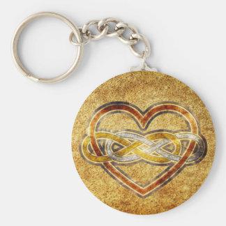 Corazón doble del infinito del símbolo bicolor llavero redondo tipo pin