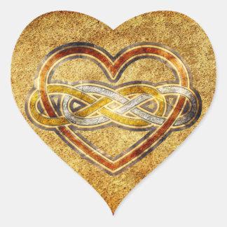 Corazón doble del infinito del símbolo bicolor pegatina en forma de corazón