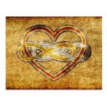Corazón doble del infinito del símbolo bicolor tarjeta postal