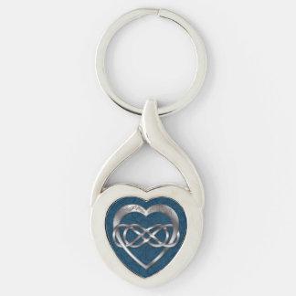 Corazón doble del infinito y de la plata en el llavero plateado en forma de corazón