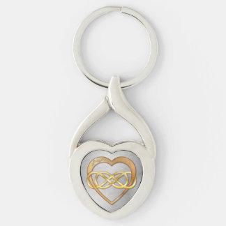 Corazón doble del infinito y del oro - llavero llavero plateado en forma de corazón