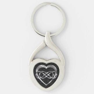 Corazón doble en negro - llavero del infinito y de llavero plateado en forma de corazón