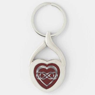 Corazón doble en rojo - llavero del infinito y de llavero plateado en forma de corazón