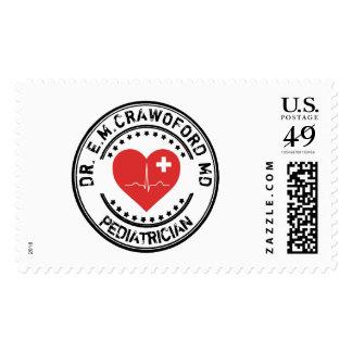 Corazón ECG del doctor sello de goma con su nombre