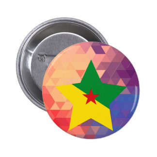 Corazón elegante de la bandera de la Guayana Pin Redondo 5 Cm