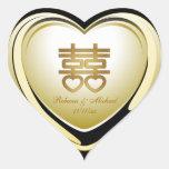 Corazón elegante de la felicidad del doble del oro pegatinas de corazon personalizadas