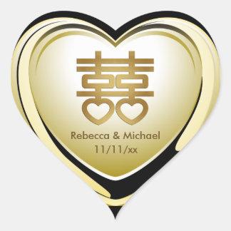 Corazón elegante de la felicidad del doble del oro pegatina en forma de corazón