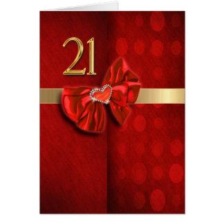 Corazón elegante del 21ro cumpleaños feliz tarjetas