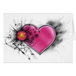 Corazón elegante del eje de balancín con la cruz c tarjeta de felicitación