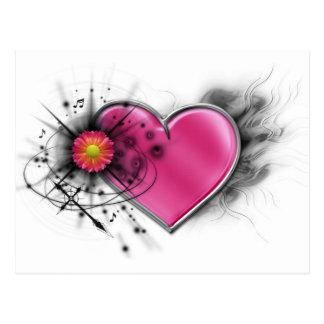 Corazón elegante del eje de balancín con la cruz tarjetas postales