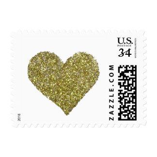 corazón elegante del oro, casando amor timbre postal