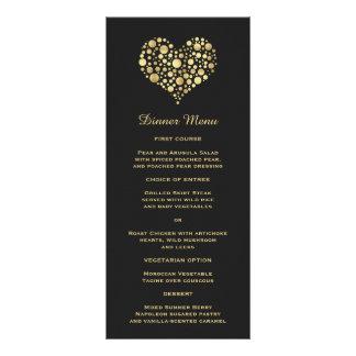 Corazón elegante del oro en menú delgado negro tarjeta publicitaria