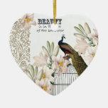 Corazón elegante del pavo real de los lirios ornaments para arbol de navidad