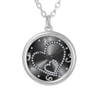 corazón elegante París del vintage del reloj de bo Pendiente