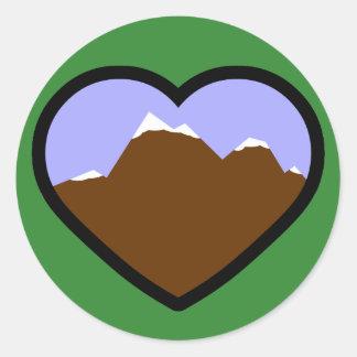 Corazón elemental de la tierra pegatinas redondas