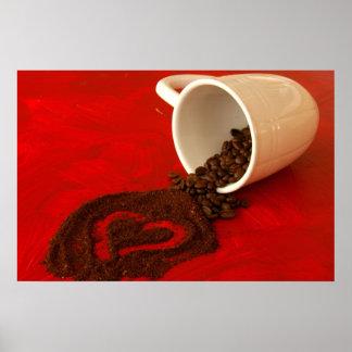 corazón en argumentos de café póster