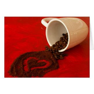 corazón en argumentos de café tarjeta de felicitación