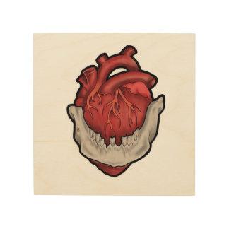 Corazón en boca impresiones en madera