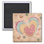 Corazón en colores pastel bonito imán de frigorifico