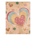 Corazón en colores pastel bonito postal