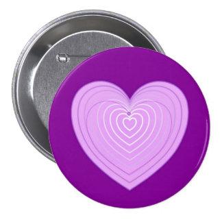 Corazón en colores pastel de la lavanda en un pin redondo de 3 pulgadas
