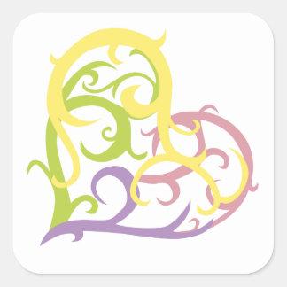 corazón en colores pastel del tatuaje de la vid colcomanias cuadradases